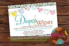 Diaper Baby Shower Invitation  Diaper and by InvitasticInvites