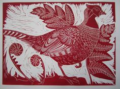 Pheasant Warrior  Every detail carved from lino, taken from my drawing study of a pheasant, Inked and printed on an etching press.