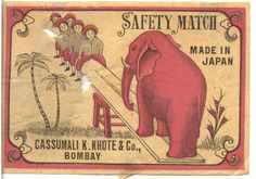 elephant matchbook label | Found on mayumiotero.com