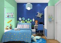 Blue and green Simple Bedroom Design, Boys Room Design, Girl Bedroom Designs, Living Room Designs, Boys Bedroom Decor, Bedroom Themes, Bedroom Sets, Girls Bedroom, Calm Bedroom