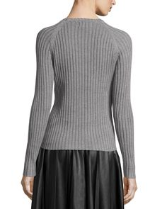Long-Sleeve Ribbed Knit Sweater