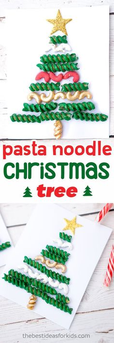 This macaroni and pasta noodle Christmas Tree is so fun to make!  Kids will love making this simple craft. #christmas #christmascraft #kidscraft #noodleart via @bestideaskids