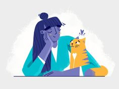 Daydreamer 😴💜😻 Swipe ➡️ for the process timelapse Flat Design Illustration, Illustration Vector, People Illustration, Character Illustration, Vector Art, Map Illustrations, Cat Character, Character Design Animation, Illustrator Tutorials
