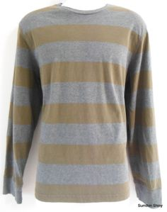 Mens Express Long Sleeve T-Shirt Large Crew Neck Rugby Striped