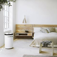 Bedroom Rustic White Bedroom Design Combined With Floating Bedside Table And Wooden Headboard Ideas Monochrome Bedroom Design Inspiration Dream Bedroom, Home Bedroom, Bedroom Furniture, Bedrooms, Calm Bedroom, Master Bedroom, Wooden Bedroom, Bedroom Rustic, Bedroom Loft