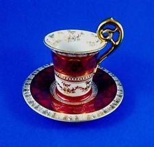Demitasse Deep Red with Gold Design German ? Tea Cup and Saucer Set