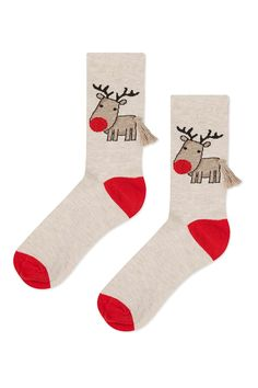 Tassel Christmas Reindeer Socks