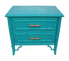 Simply fabulous Hollywood Regency small chest or large nightstand. Mid Century, 1960s. Gorgeous Chippendale faux bamboo design and lots of it. Newly lacquered in a bold turquoise blue. Made by Dixie, the Aloha line. This would be stunning in an entryway with a mirror or in between two chairs, so many possibilities!!