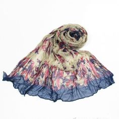 http://www.artfire.com/ext/shop/studio/bohemiantouch/1/1/10311//  Champagne Blue and Pink Vintage Bird Print Soft Touch Fashion Shawl Scarf, scarf is a great addition to your collection of fashion accessories. Perfect for all year round.