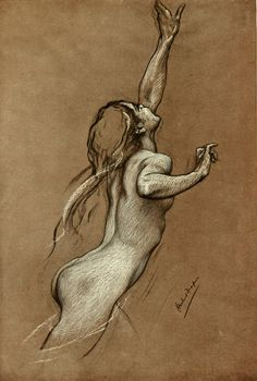 "I want to get back into figure drawing.... Herbert James Draper(1863-1920), Study for ""Flying Fish"""