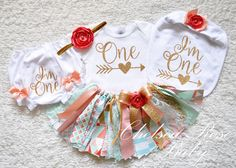 So adorable for 1st Birthday! Pink and Gold Fabric tutu outfit by ChelseaRoseBaby