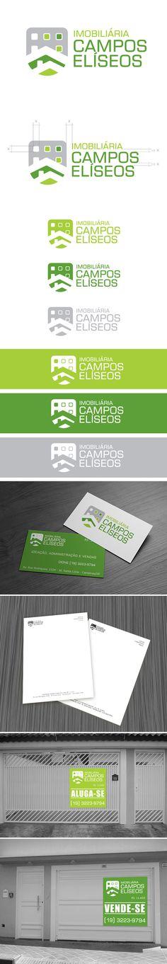 Identidade visual desenvolvida para a Imobiliária Campos Elíseos, em Campinas.  Também foi desenvolvida a papelaria básica e placas de comunicação/sinalização.