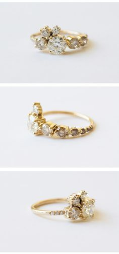 These lovely multi-stoned rings by Mociun would make the perfect alternative engagement ring - I love how they're so different and unique! Get this gorgeous bling here. Bling Bling, 1 Karat, Jewelry Box, Jewelry Accessories, Jewlery, Weird Jewelry, Unique Jewelry, Looks Chic, Diamond Cluster Ring