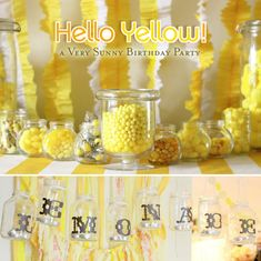 Nothing about this I don't love: from the ruffled streamers to the mason jars with letter and candles, to the amazingly cheery yellow.