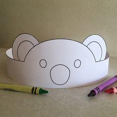 Koala Paper Crown COLOR YOUR OWN Printable por PutACrownOnIt
