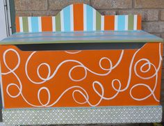 Toychest Toy Box  Modern CHEVRONS ORANGE Turquoise  BOYS any color Storage  Bench on Etsy, $195.00