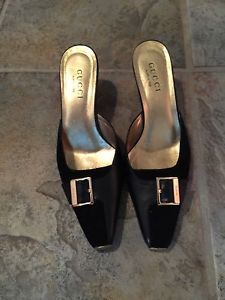 Gucci Black Suede Leather Mules 7 B Slides Solid Shoes Kitten Heels Medium | eBay