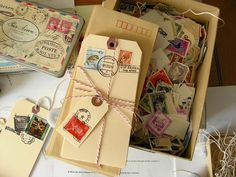 Create stationery out of giant manila tags by embellishing them with postage stamps and rubber stamps. From curbsidetreasure.