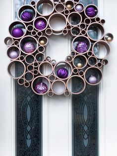 Add an artistic, geometric touch to your entry this holiday season by transforming plumbing material into contemporary door, as seen on HGTV.com.