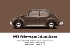 1955 Volkswagen Deluxe Sedan - Texas Brown Digital Art