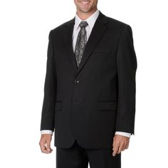 Cianni Cellini Men's Big & Tall Charcoal Gabardine Suit