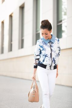 Almost Sporty :: Organza bomber jacket & Ankle strap pumps