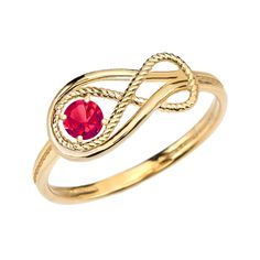 Ruby Rope Infinity Yellow Gold Ring Size 9