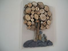 Beach pebble art picture driftwood on canvas handmade unique family anniversary