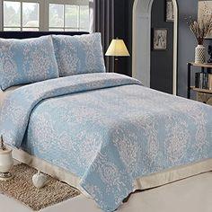 C.CTN 3pc Reversible Printed Quilt Set,Queen Size,Light Blue