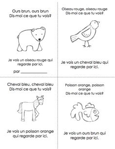 Brown bear, brown bear in French! Great coloring pages they can make into a book. [licensed for non-commercial use only] / les ours - la maternelle French Teaching Resources, Teaching French, Teaching Tools, Teaching Ideas, French Articles, French Colors, Album Jeunesse, Core French, French Classroom
