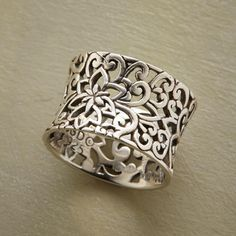 """ITALIANATE RING--Our ironwork-style ring is like a gate to a hidden garden, cast in sterling silver and oxidized to add depth and definition. Sundance exclusive. Whole sizes 5 to 9. 1/2""""W."""