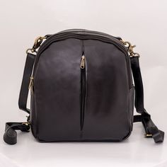 Black leather bag for women. Leather bag gift for wife, sister, friend. Rucksack Backpack, Travel Backpack, Fashion Backpack, Leather Embroidery, Round Bag, Embroidered Bag, Black Leather Bags, Medium Bags, Gifts For Wife