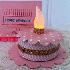 Stampin Up demonstrator Lisa Barton for card, scrapbook & papercrafting ideas & supplies : How to make a tealight birthday box card & gift