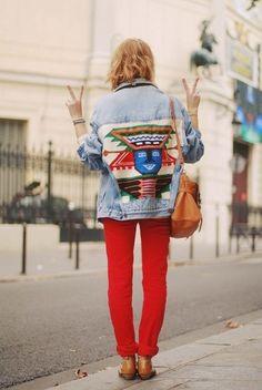 Boho Street Style Inspiration: Vintage Embroidered Jean Jacket Red Pants Look - Jeans Jacket - Ideas of Jeans Jacket - Boho Street Style Inspiration: Vintage Embroidered Jean Jacket Red Pants Look Looks Street Style, Looks Style, Looks Cool, Style Me, Look Fashion, Fashion Models, Winter Fashion, Fashion Design, Fashion Decor
