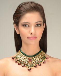 Rani Padmini Kundan Necklace by Just Jewellery India Jewelry, Ethnic Jewelry, Unique Jewelry, Jewelry Design, Jewelry Art, Jewlery, Indian Wedding Jewelry, Bridal Jewelry, Royal Jewels