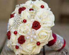 Items similar to Red brooch wedding bouquet broach bouquet red ivory brooch bridal bouquet jeweled bouquet alternative bouquet dark red brooch bouquet on Etsy Small Wedding Bouquets, Red Bouquet Wedding, Red Wedding, Wedding Flowers, Rose Bouquet, Boquet, Table Wedding, Wedding Ideas, Wedding Brooch Bouquets