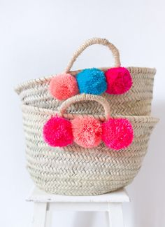 Pom Pom Basket Woven Natural Straw Basket Market by LoomAndField