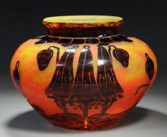 Le Verre Francais, Schneider Glassworks, Overlay Cameo Glass Vase, France, ca. 1920.