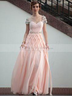 Rhinestone Cap Sleeved Lace Bodice Long Prom Dress
