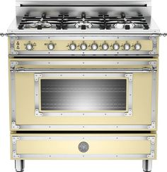 Bertazzoni HER366GASCRLP 36 Inch Traditional-Style Gas Range with 6 Sealed Brass Burners, 4.4 cu. ft. Convection Oven, Manual Clean, Storage Compartment and Telescopic Glide Shelf: Matte Cream, Liquid Propane