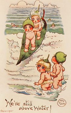 We're Still Above Water IThe Gumnut Babies as drawn by May Gibbs, Australian author and illustrator Bebe Nature, Baby Tattoos, Children's Book Illustration, Art Illustrations, Australian Artists, Teenage Mutant Ninja Turtles, Vintage Images, Vintage Artwork, Nursery Rhymes