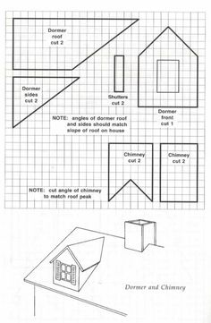 Blueprint template for making a dormer and chimney to add to any gingerbread house.