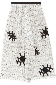 Crazy skirt is looking at you! Roland Mouret Archie appliquéd cotton-blend skirt