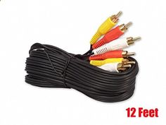 12FT RCA M/Mx3 Audio/Video Cable Gold Plated - Audio Video RCA Cable 12ft
