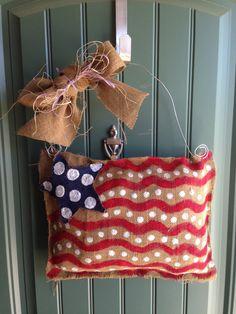 American Flag Burlap Door Hanger by BerryedInTheSouth on Etsy, $20.00