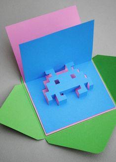 crea tus propias postales pop up de 8 bits