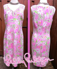 Vintage Lilly Pulitzer Silk A-Line Maxi Dress Sz 8 Pink Paisley Butterfly Print #LillyPulitzer #BeachDress