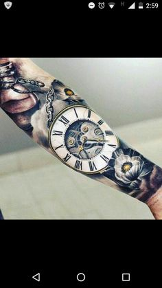"Color and style of time piece, captioned ""until the end of time"""