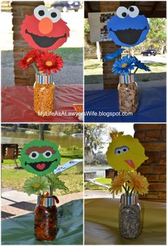 My Life as a Lawyer's Wife: Ellie's Sesame Street Birthday Party character centerpieces - Elmo, Cookie Monster, Oscar, Big Bird Monster Birthday Parties, 3rd Birthday Parties, Birthday Party Decorations, 2nd Birthday, Happy Birthday, Second Birthday Ideas, Birthday Images, Birthday Sayings, Birthday Greetings