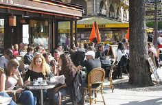 Cafes In Paris France   Cafés on the boulevard St. Michel in the Latin Quarter - theessence ...